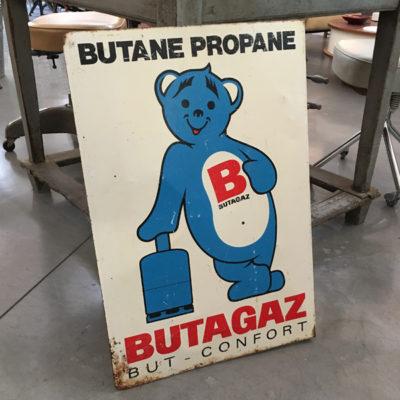 Insegna Butagaz in latta smaltata francese