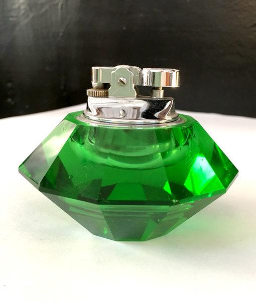 accendino in vetro di Murano verde a diamante
