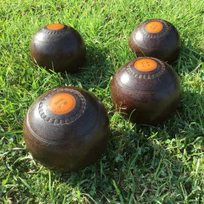 bocce in legno vintage set di 4 Thomas Taylor