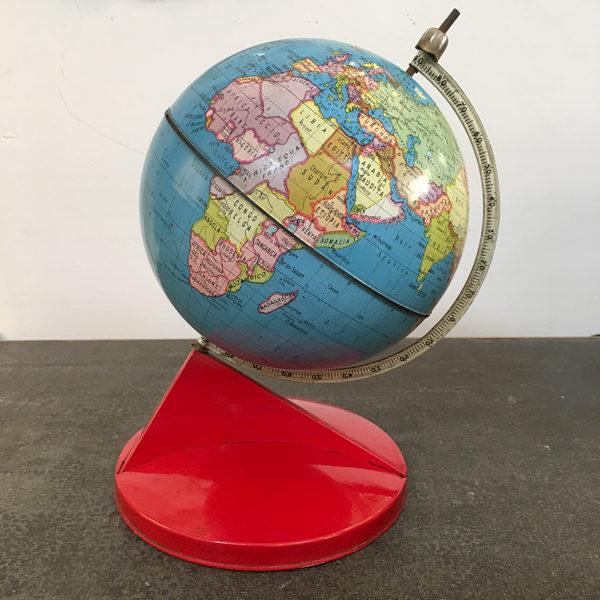 mappamondo in metallo vintare rosso Bobeche