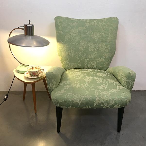 poltroncina anni '50 vintage verde chiaro Bobeche