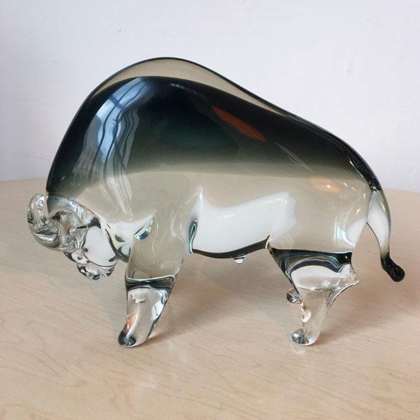 Bisonte in vetro di Murano Bobeche