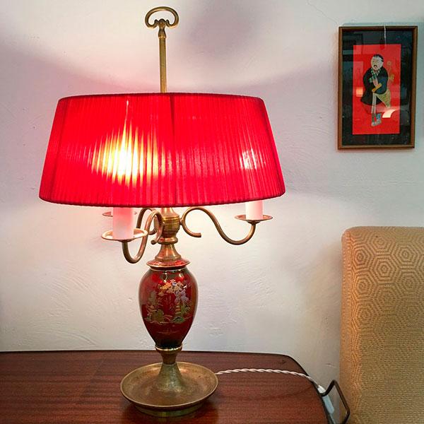 lampada ottone e ceramica decorata vintage