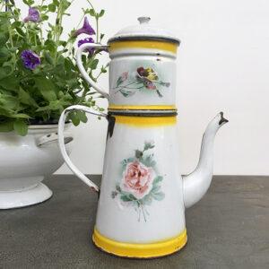 Caffettiera latta smaltata a fiori
