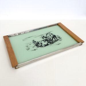 vassoio vintage rettangolare in vetro con disegni