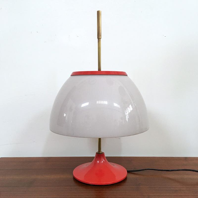 Lampada Da Tavolo In Ottone Arancione Anni 60 Bobeche Vintage Store