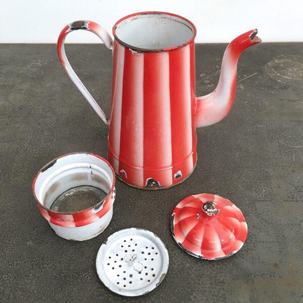 latta smaltata a righe rosse vintage
