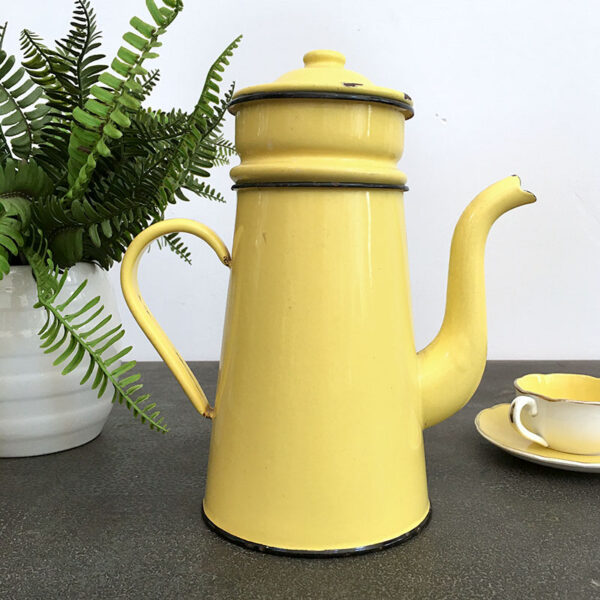 caffettiera latta smaltata gialla