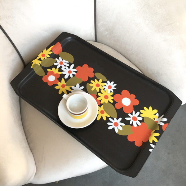 vassoio Guzzini vintage anni '70 fiori