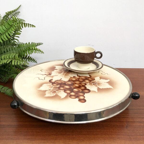 vassoio girevole in ceramica anni '60