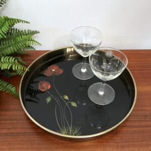 vassoio in ottone e vetro tondo vintage