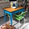 tavolo vintage azzurro piano legno