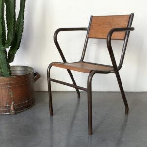 sedia industriale vintage con braccioli Bobeche