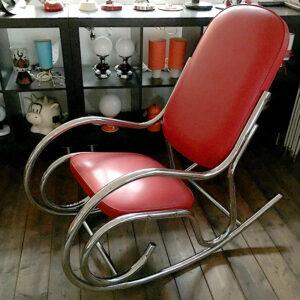 sedia a dondolo anni 70 vintage