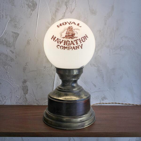 lampada vintage ottone e legno da bar