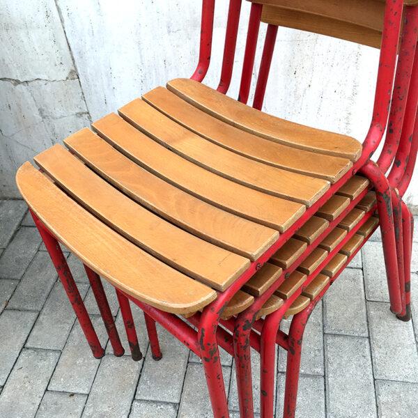 sedie da bistrot in ferro e legno a stecche vintage