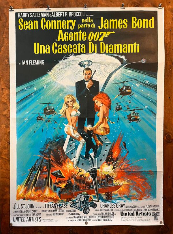 manifesto vintage film Agente 007 una cascata di diamanti
